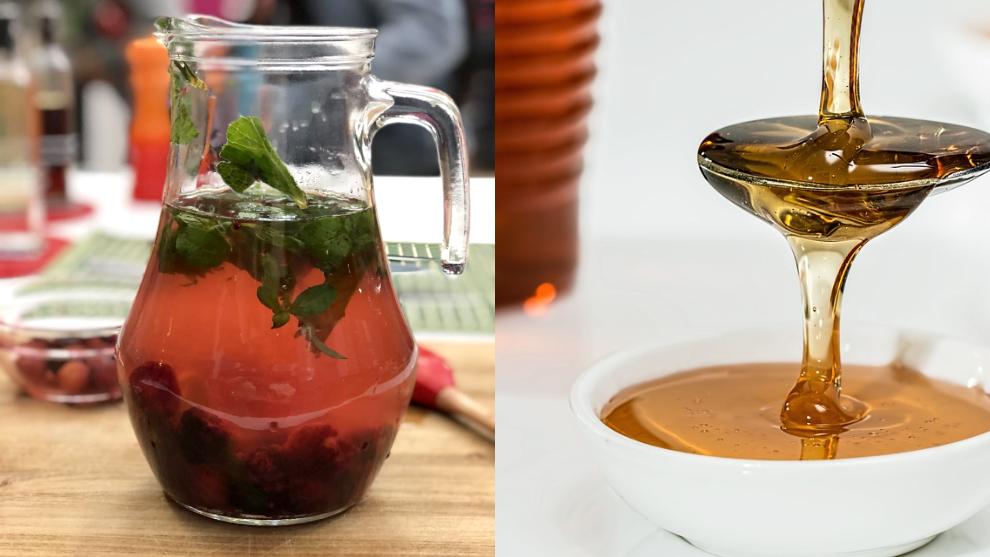 Zumo del día: mora, menta, hierbabuena, miel de abejas y agua con gas