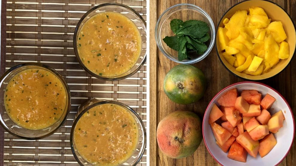 Zumo del mango, papaya, naranja, menta