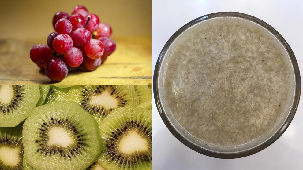 Zumo para el fortalecimiento del pelo: uvas y kiwi