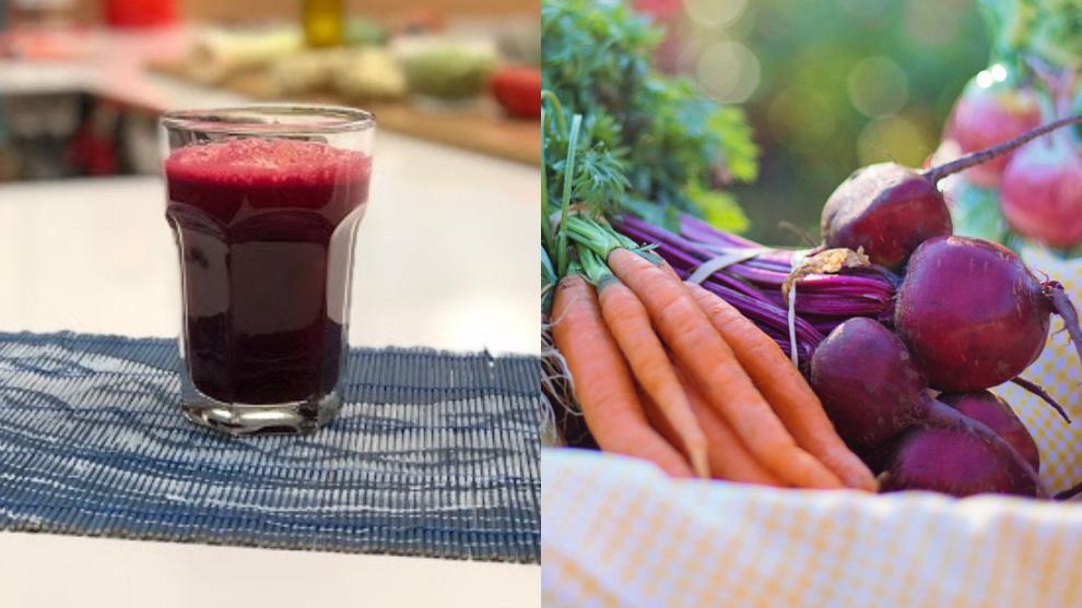 Zumo para mejorar circulación: zanahoria, pepino, tomate, limón y remolacha