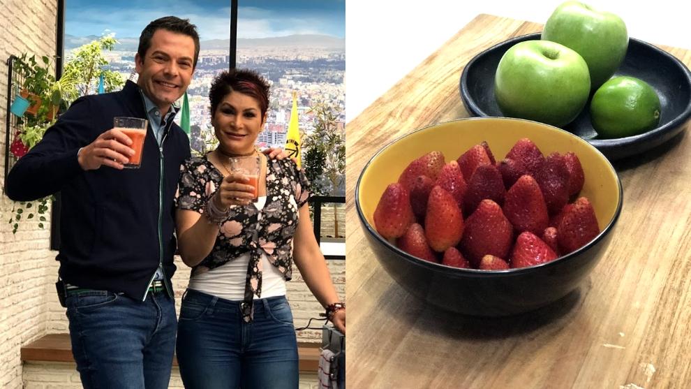 Zumo para diabéticos: fresa, manzana y limón
