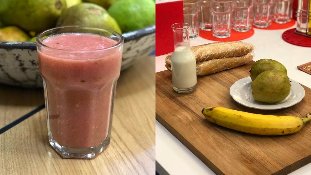 Zumo para la anemia: guayaba, banano y yogur sin sabor