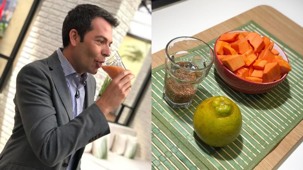 Zumo para la flora intestinal: papaya, naranja y linaza