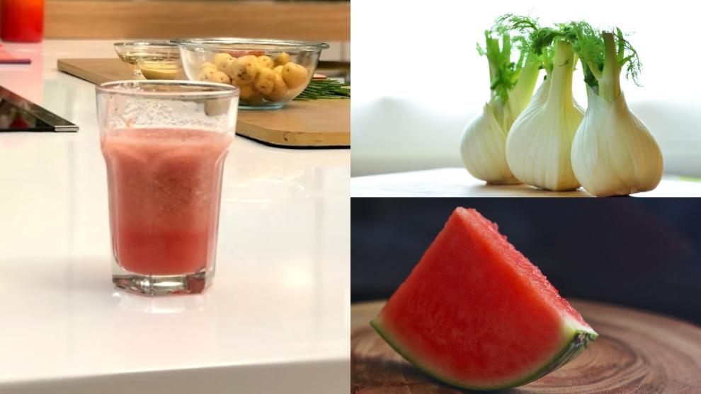 Zumo para purificar el colon y los riñones: cebolla, sandía y tomate
