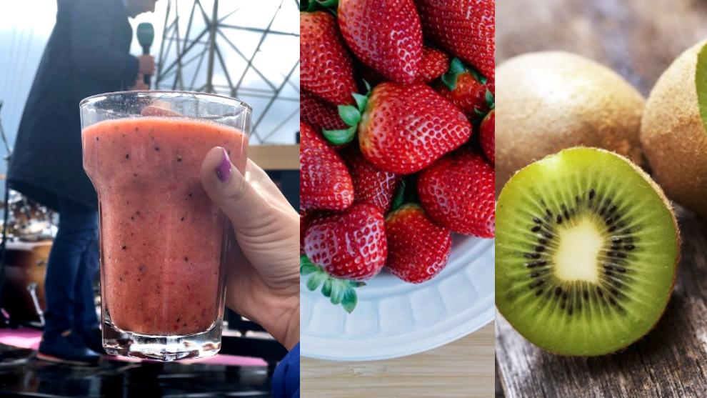 Zumo para reducir el colesterol: fresa, kiwi y agua de coco