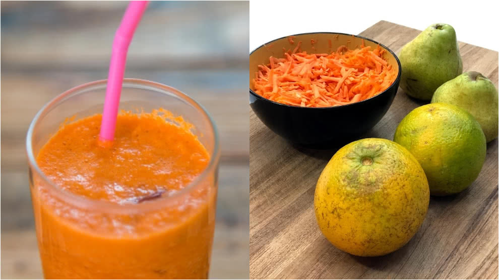 Zumo para subir defensas: zanahoria, naranja y pera