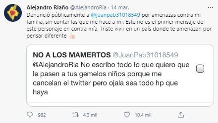 Alejandro Riaño Amenazas a Gemelos 2