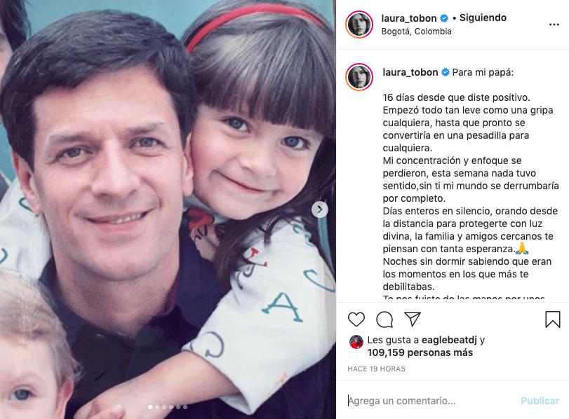 Con fuerte mensaje, Laura Tobón comparte grave estado de salud de su papá