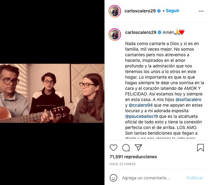 """Carlos Calero sorprende con su voz y la de sus hijos tras cantar """"Amén"""""""