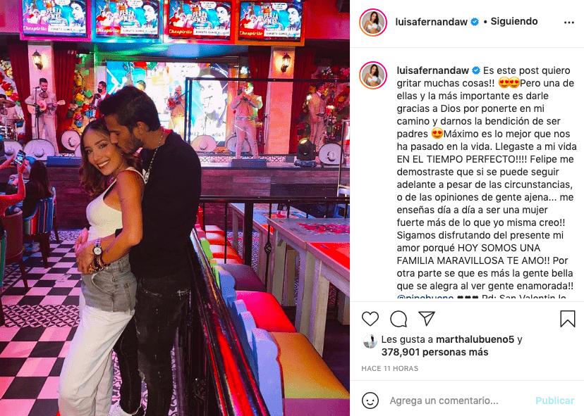 Luisa Fernanda W declaró su amor a Pipe Bueno con extenso mensaje