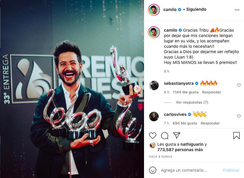 Así celebró Camilo sus 5 galardones en los Premios Lo Nuestro