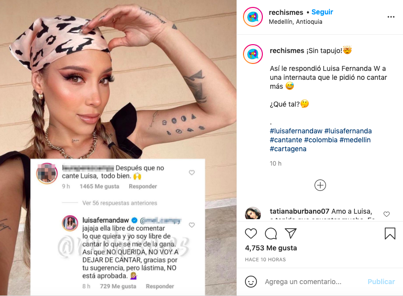 La respuesta de Luisa Fernanda W a quien no la quiere escuchar cantando