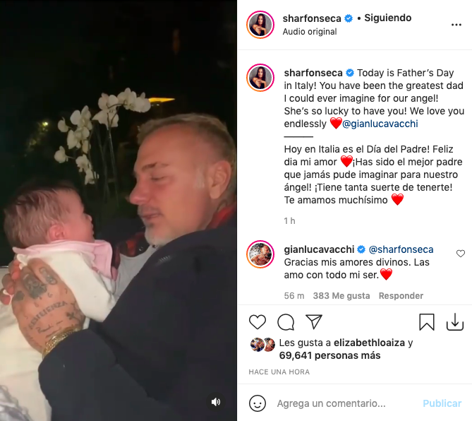 Con inéditos videos, Sharon Fonseca celebra el Día del padre a Gianluca Vacchi