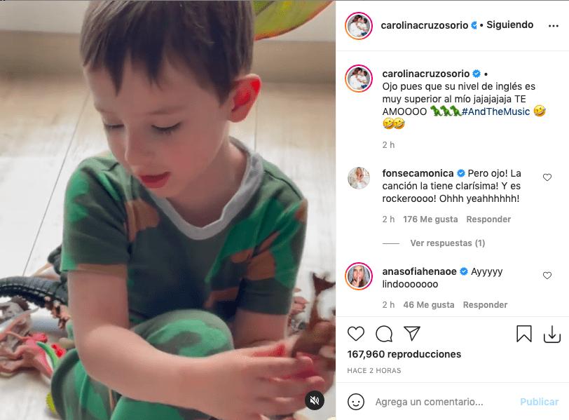 Carolina Cruz muestra tierno video de su hijo cantando en inglés