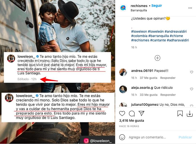 El mensaje de Lowe León a su hija con Andrea Valdiri del que se retractó
