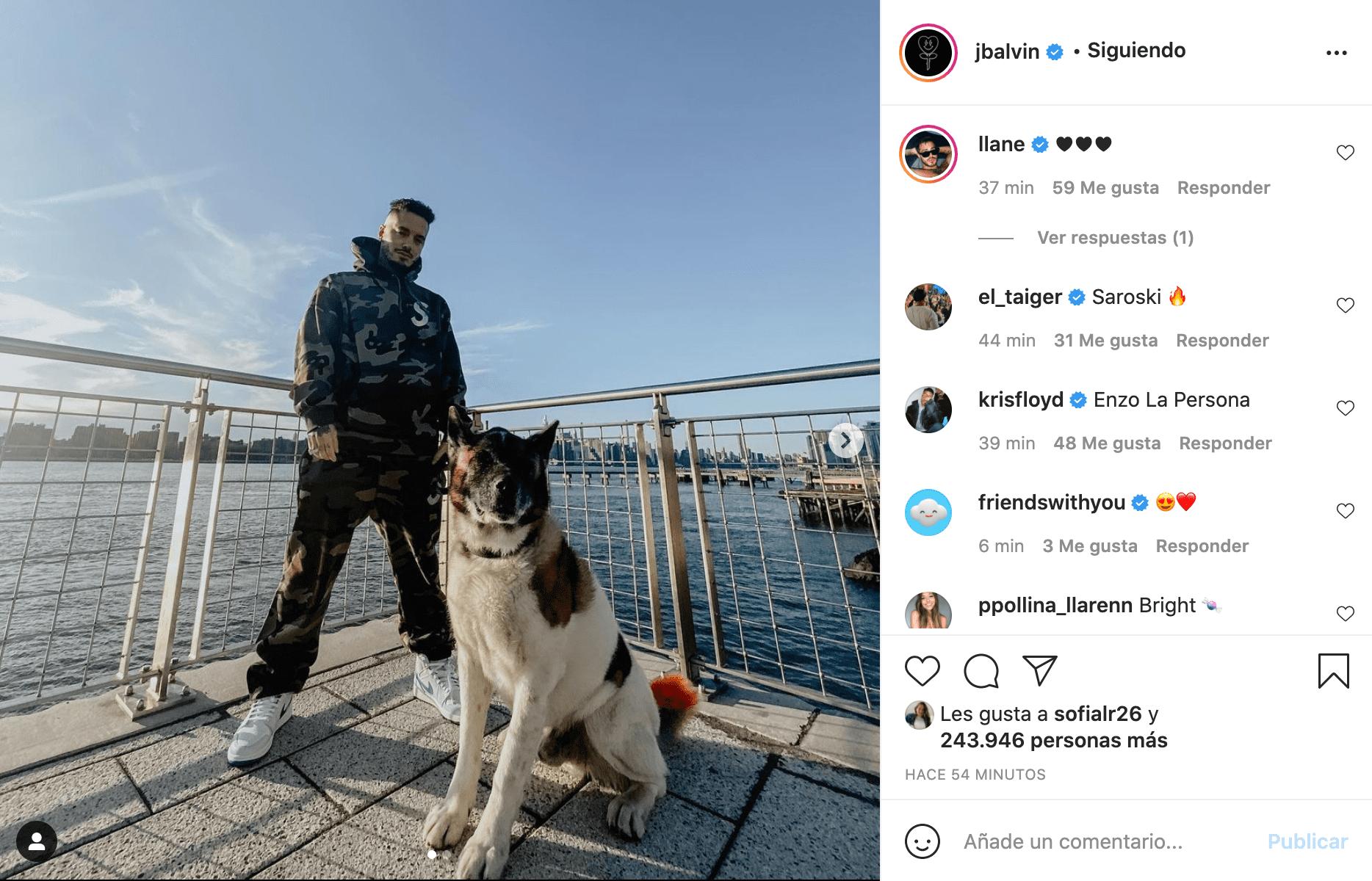 J Balvin junto a su perro Enzo