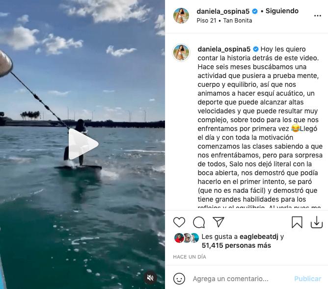 Salomé, hija de James y Daniela Ospina deslumbra haciendo esquí acuático