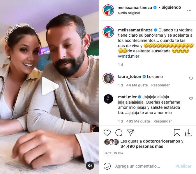 Melissa Martínez le hace broma a esposo y termina de forma inesperada