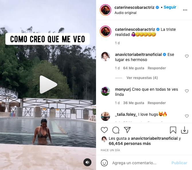 Caterin Escobar hace video de expectativa y realidad con atractivo bikini