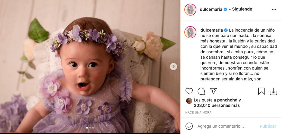 Dulce María deja ver a detalle el rostro de su hija y enamora a fans