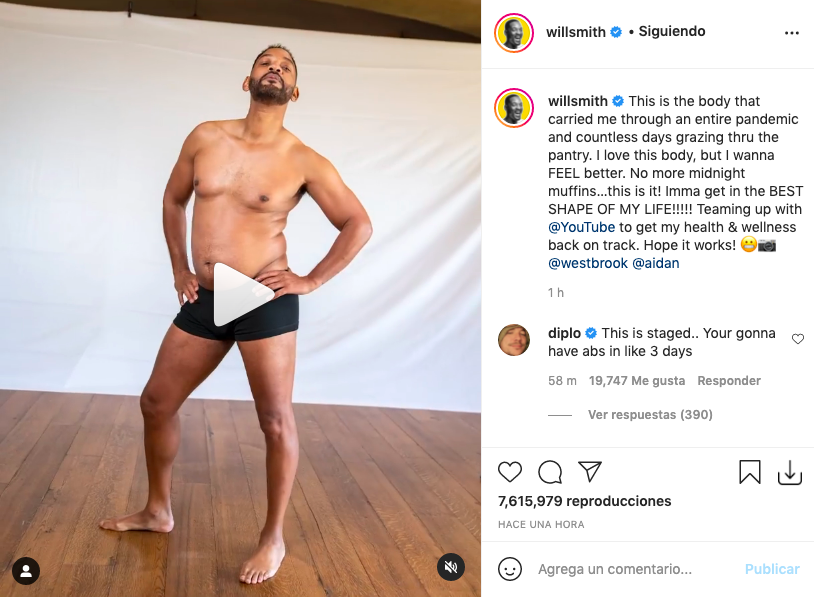 Will Smith anuncia el inicio de su cambio físico en ropa interior