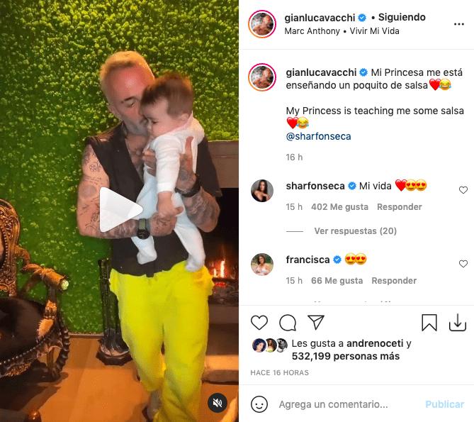 Gianluca Vacchi baila salsa con su bebé y sus gestos divirtieron a fans