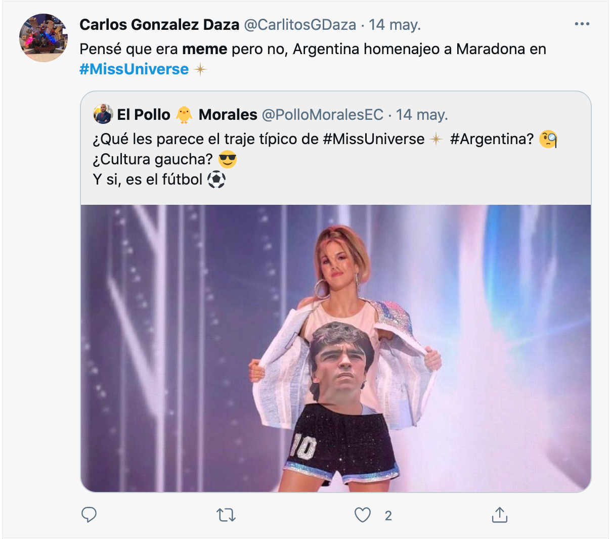Diego maradona Miss Universo memes