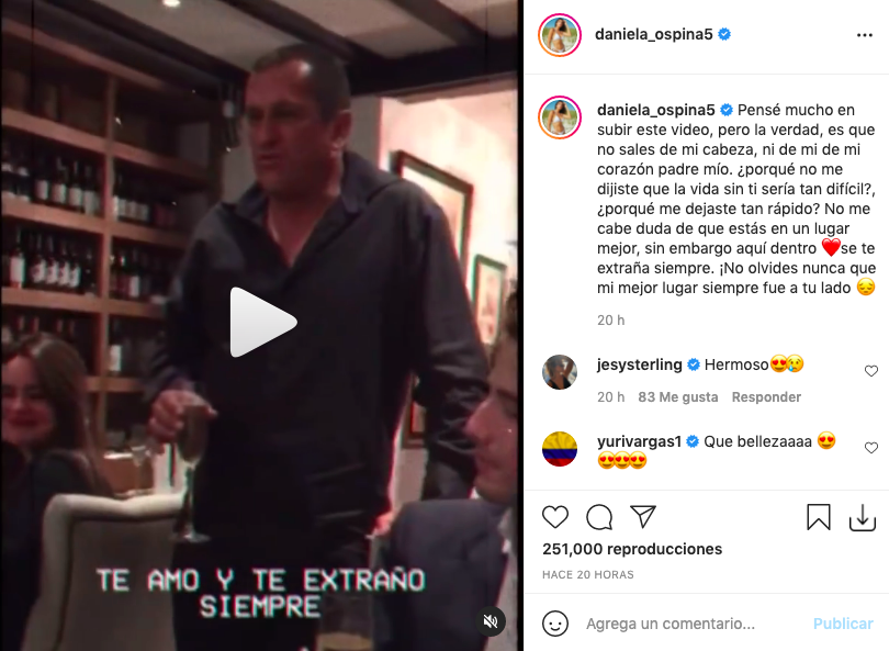 Daniela Ospina revela inédito video de su papá y hace llorar a fans