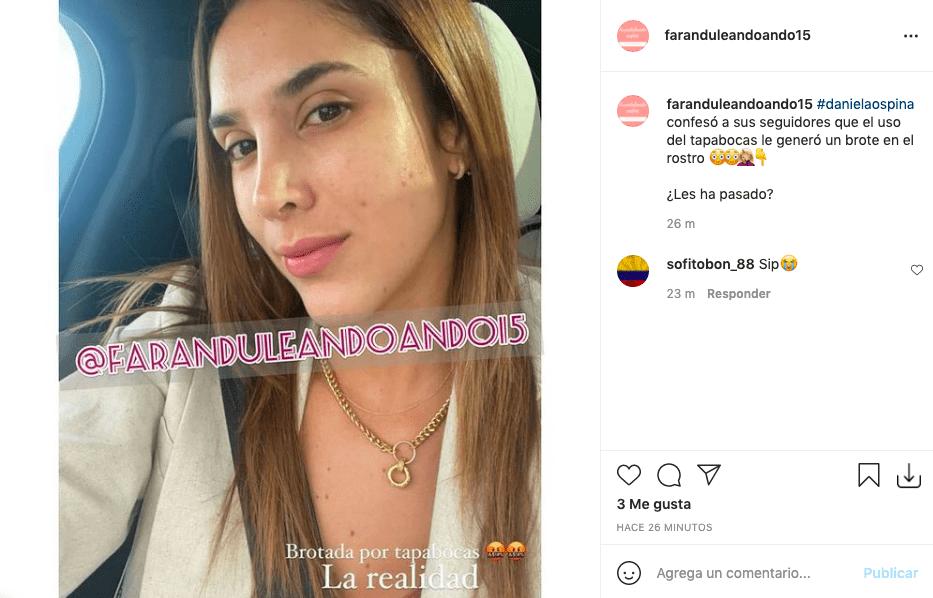 Daniela Ospina posa sin una gota de maquillaje y revela realidad por uso de tapabocas
