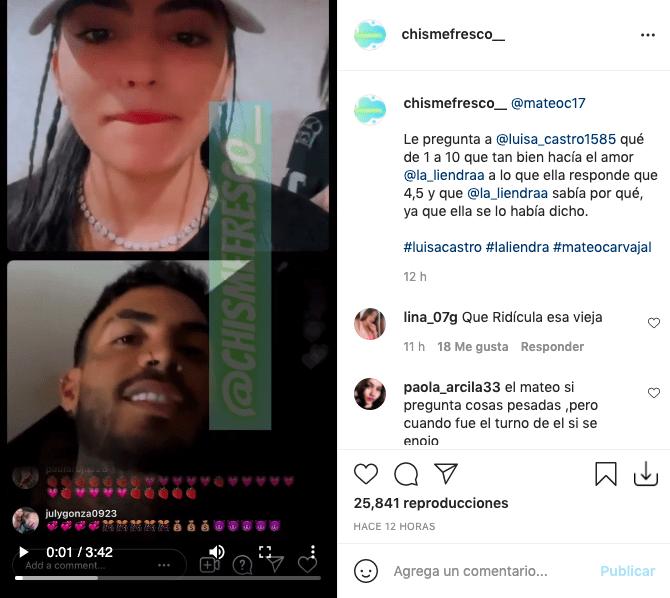 Luisa Castro responde a Mateo Carvajal y califica a La Liendra en la intimidad