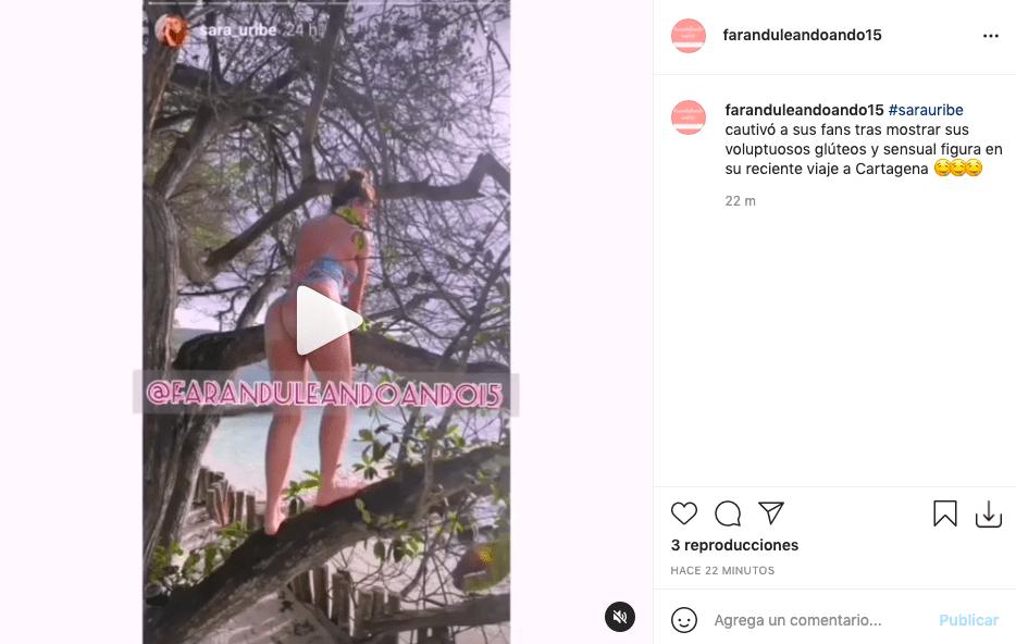 Sara Uribe presumió su cola subiendo a un árbol con sugestivo atuendo