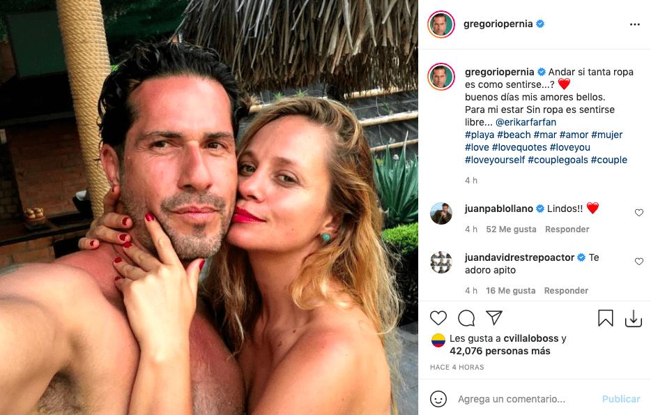 Gregorio Pernía posa sin ropa en compañía de su atractiva esposa