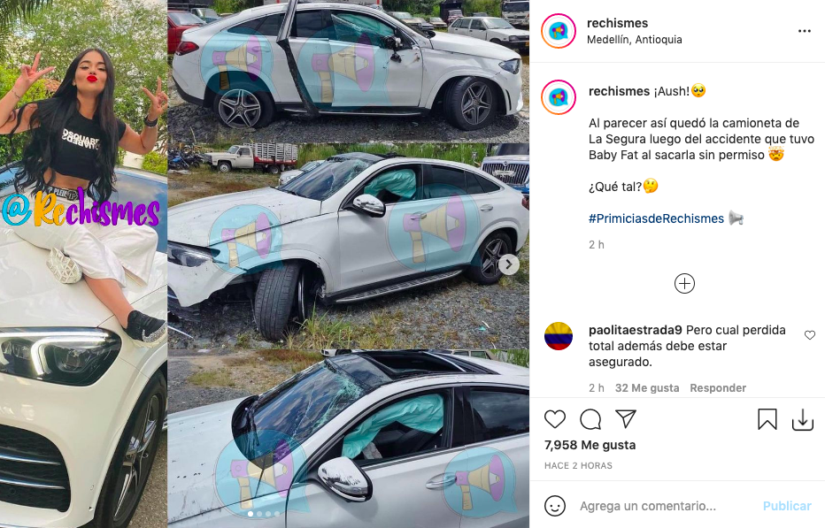Así quedó la camioneta de La Segura tras ser estrellada por uno de sus amigos
