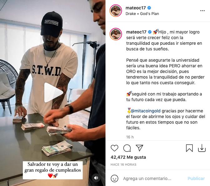 Mateo Carvajal mostró millonario regalo para su hijo y recibió fuertes críticas
