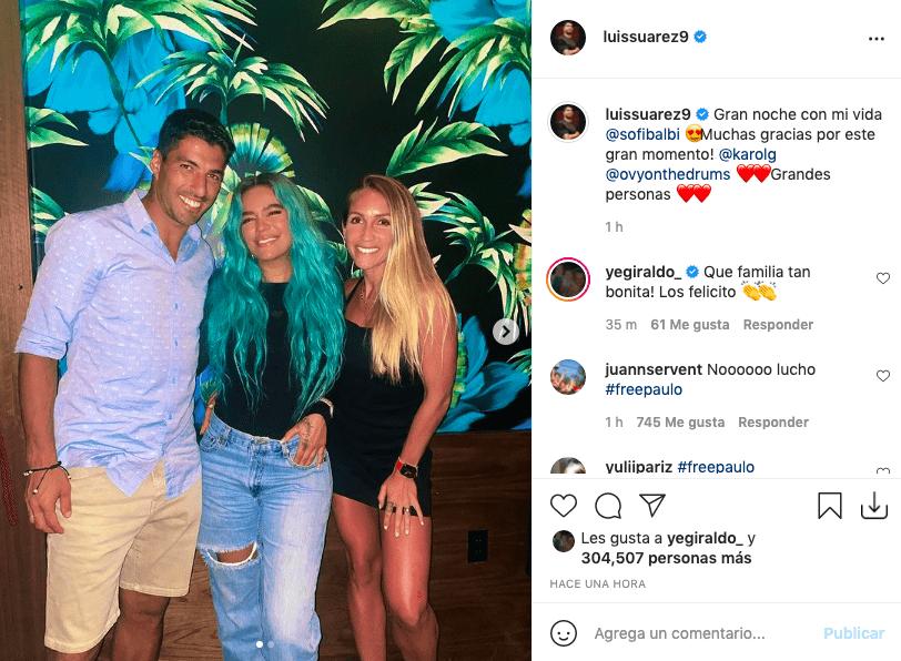 Karol G genera gran revuelo tras posar junto a Luis Suárez en Miami