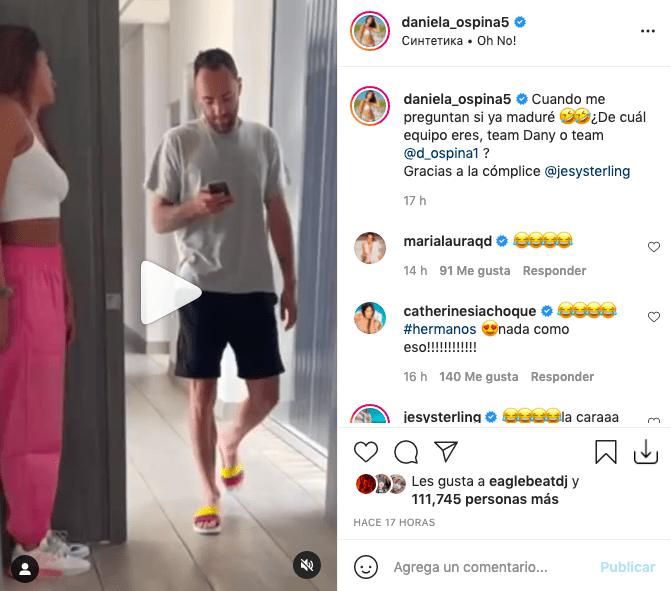 Daniela Ospina hace divertida broma a su hermano y muestra reacción de él