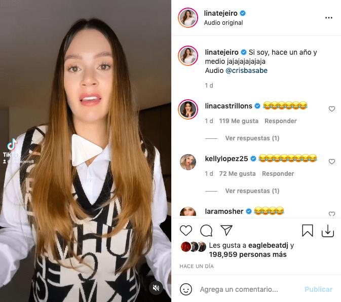 Lina Tejeiro divirtió tras recordar con video que hace un año lloró por su ex
