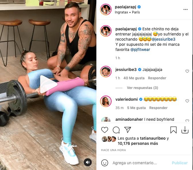 Paola Jara mostró atractivo baile de Jessi Uribe mientras ella se ejercitaba