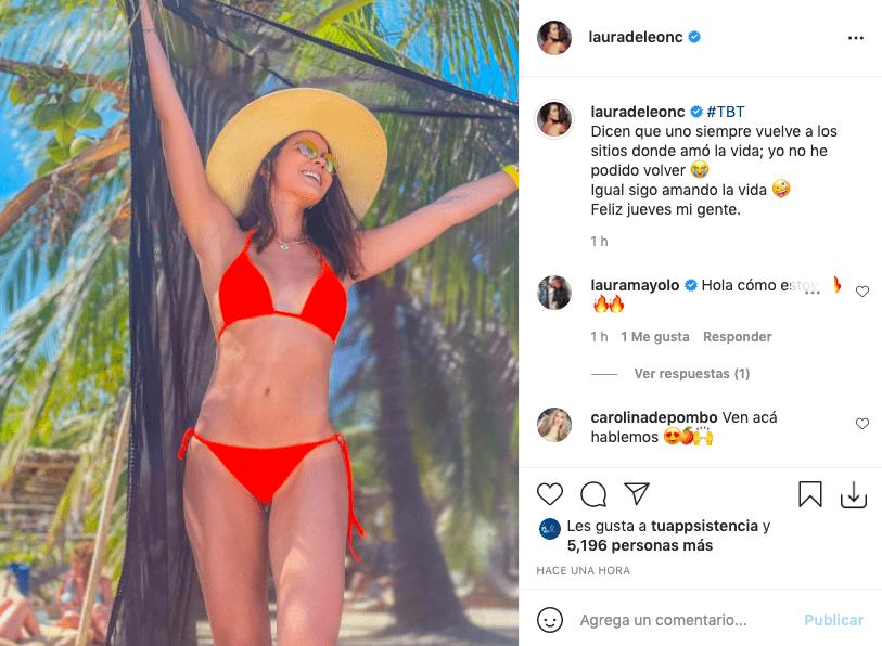 Laura de León cautiva tras posar en microscópico bikini rojo