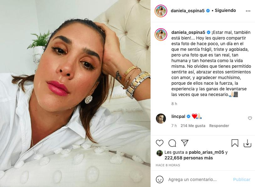 Llorando, Daniela Ospina se retrató para Instagram dejando profunda reflexión