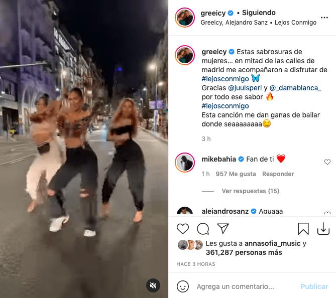 Greeicy Rendón cautiva tras hacer atractivo baile en las calles de Madrid