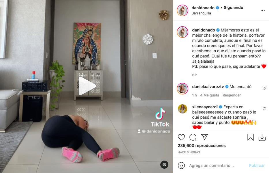 Daniella Donado tuvo estrepitosa caída tras bailar con ajustado enterizo