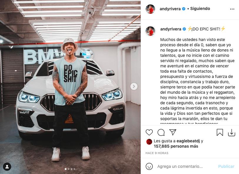 Andy Rivera alegró a fans tras presumir de su nueva y lujosa camioneta