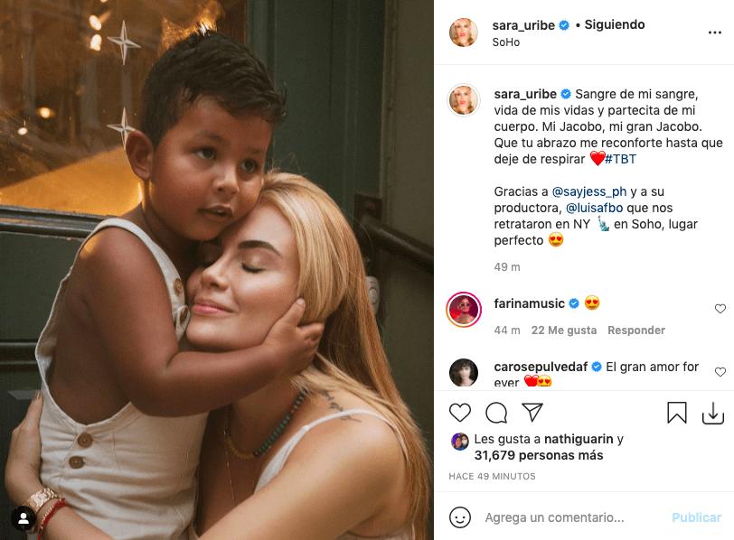 Sara Uribe y la enternecedora postal abrazándose con su hijo