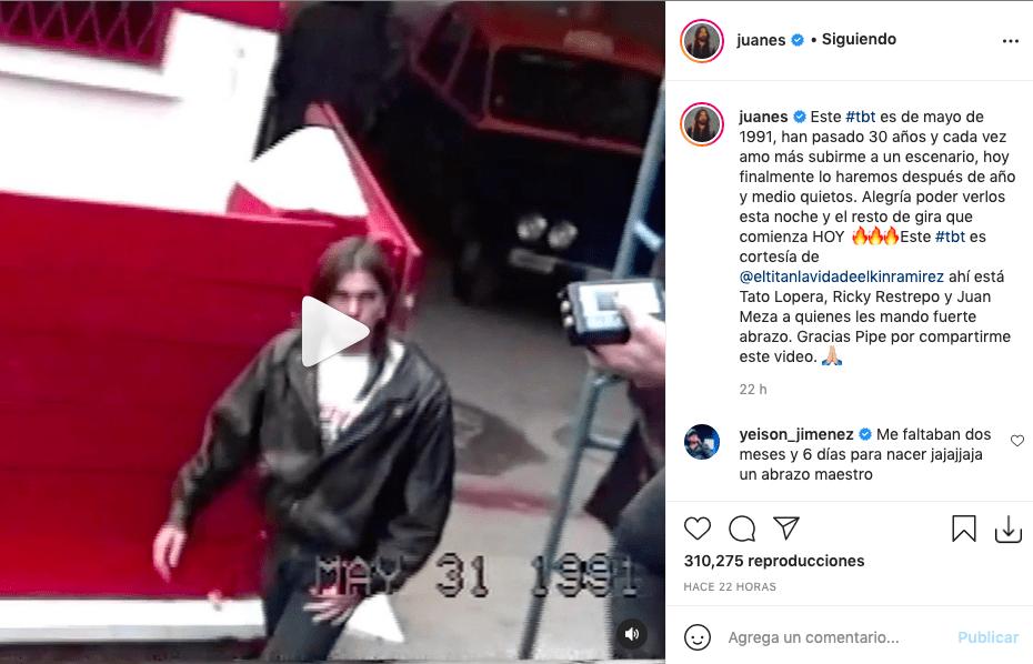 Juanes comparte video de hace 30 años en el inicio de su carrera