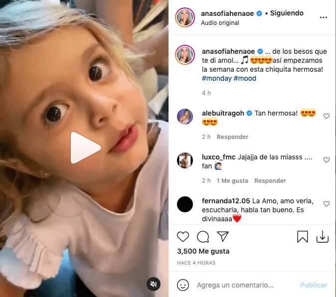 Hija de Ana Sofía Henao sorprendió cantando al ritmo de Christian Nodal