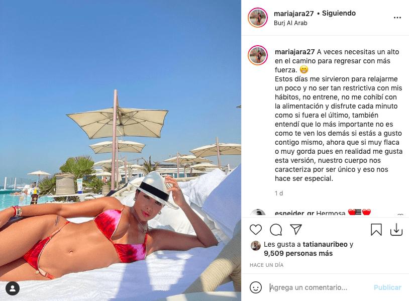 María Jara dejó reflexivo mensaje mientras bronceaba su cuerpo en bikini