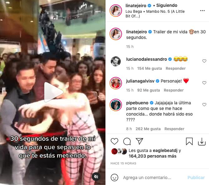 Lina Tejeiro divierte a fans con corto video de su espontánea personalidad