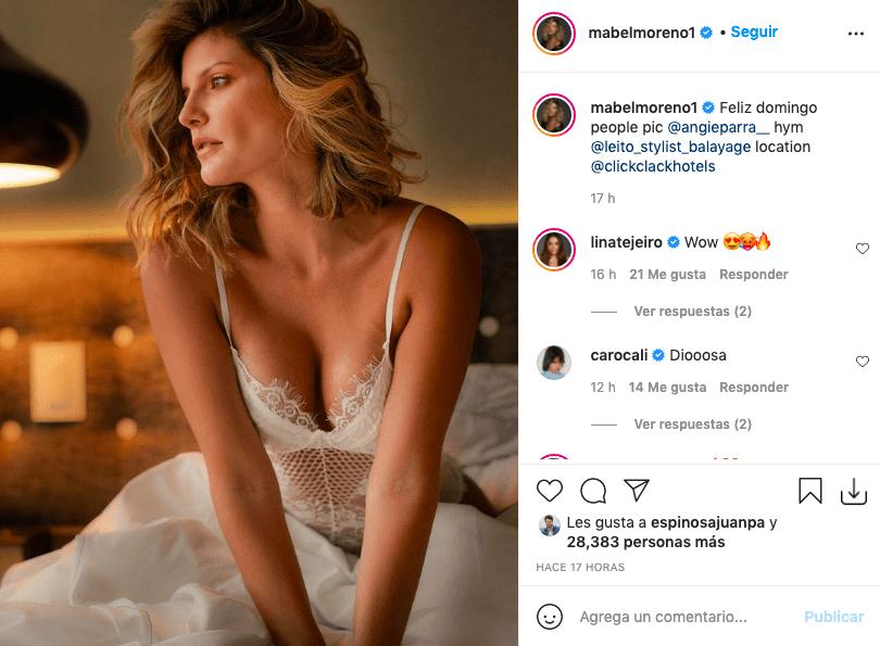 Mabel Moreno enloquece posando en lencería blanca y sobre la cama