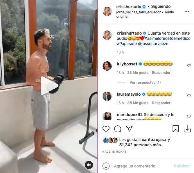 Cristina Hurtado presumió los abdominales de su esposo con divertido video
